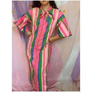 VINTAGE 1960s Pink Candy Stripe Muumuu Maxi Dress